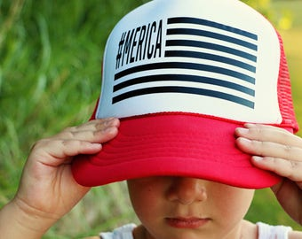 Merica Trucker Hat - Adult + Youth,  #merica, fourth of july hat, america hat, use, 4th of july hat
