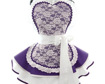 Retro Apron - Royal Purple French Maid Sexy Womans Aprons - Vintage Apron Style - French Maid Pin up Bridal Lace Rockabilly Cosplay