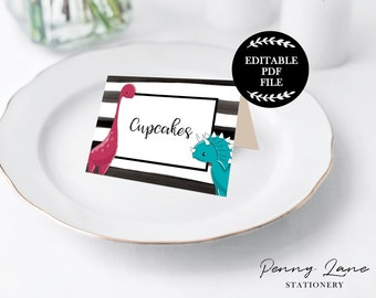 EDITABLE PDF, Dinosaur Food Tents, Dinosaur Party Decorations, Boys Party, Dinosaur Printables, Black and White Stripes, Instant Download