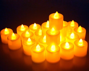 24 Pcs LED Flameless Candles Votive Candles Flickering Tealight Candles Battery Included USA Seller