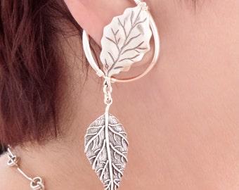 Sterling Silver unpierced earrings non-pierced leaf ear cuff ear wrap clip on comfortable Illuzio Unusual Earrings autumn leaves