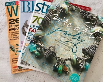 Jewelry Making Magazines and a book, Wire Art Jewelry Workshop w/ DVD, Wirework Magazine, Bead & Button Magazine, and Stringing, How-to
