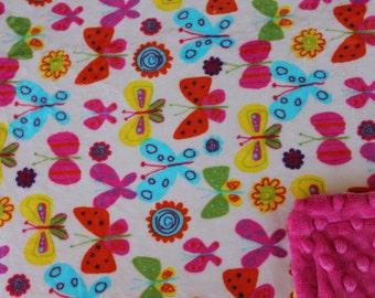 Minky Blanket Multi Colored Butterfly Print Minky with Hot Pink Dimple Dot Minky Backing - Perfect Size a Toddler or Child 36 x 42