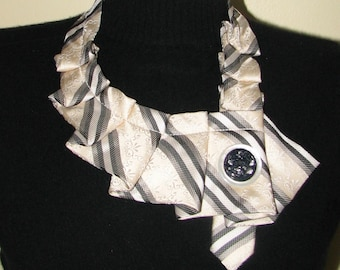 NEW - Necktie Necklace - Silk Ascot - Repurposed Necktie - Women's Ascot