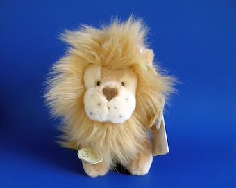 Vintage Lion Stuffed Animal by Gund Lionheart 1990s Toys Fluffy Lion Mane Heart Shaped Nose Original Paper Tags Plush