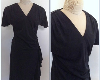 1970s Rhinestone Wrap Dress Vintage // medium, large 10 12 little black dress lbd cocktail