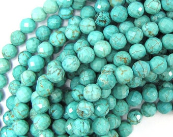 """8mm faceted green turquoise round beads 15.5"""" strand 37230"""