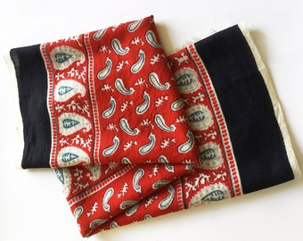 Paisley scarf in red, blue, black and cream, square women's scarf, vintage scarf with paisley  design