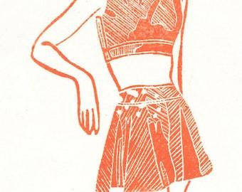 Swimsuit Linocut Print-Retro Midcentury Fashion-Orange- 3 of 10