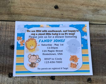 Personalized Baby Shower Invitations Jungle Theme
