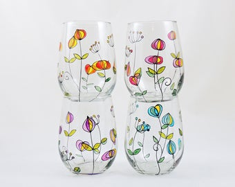 Floral wine glass - Hand painted stemless wine glass - Listing is for ONE glass