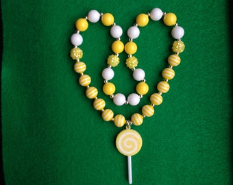 Yellow Candy Necklace, Lollipop Necklace, Childrens Candy Jewelry