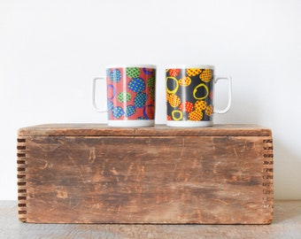vintage mod mugs, mid century coffee mugs, dotted patchwork set of two ceramic cups, Made in Japan