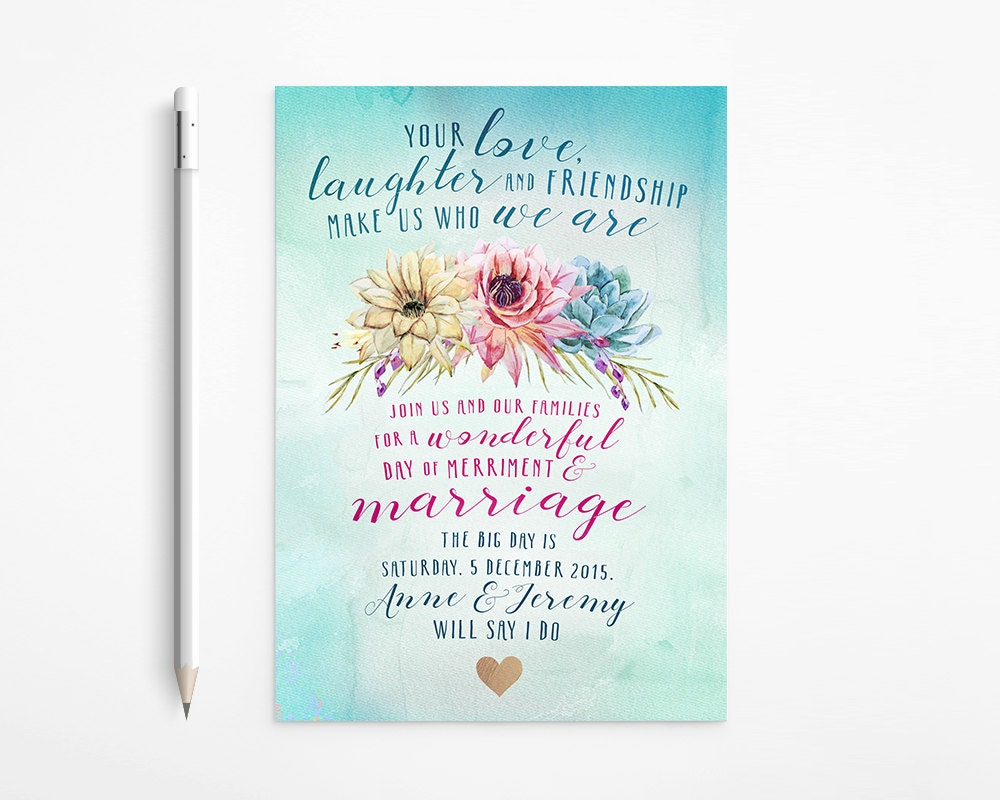 Boho Wedding Invitation, Watercolor, Ombré, Teal, Turquoise, Fuchsia ...
