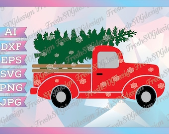 Christmas red Truck SVG, Red truck with Christmas Tree SVG, Clipart, red truck SVG, dxf, eps, clip art, Silhouette cricut design, Xmas svg