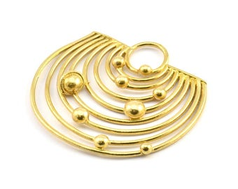 Brass Solar System, 1 Raw Brass Solar System Pendant With 1 Loop,Necklace Finding, Earring Findings (43x46x1.5mm) U145