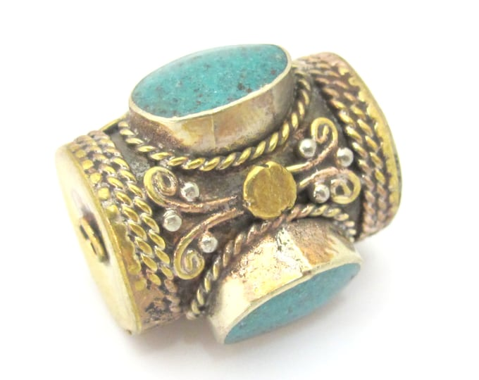 1 Bead  -  Large ethnic tibetan brass  bead with 3 sided turquoise inlay from Nepal - BD866z