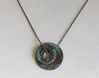 Clearance Upcycled Washer Necklace. Rustic Blue Circle Gunmetal Chain Cord Necklace.Industrial Urban Edgy Boho Birthday Gift Her Him Jewelry