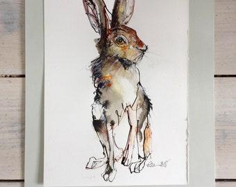 Seated Hare - Original ink sketch