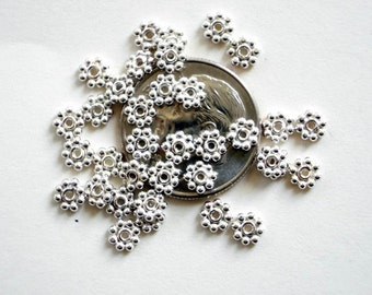 100 Bali Sterling Silver Bright Daisy Spacer Beads 4mm
