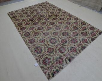 Colored Vintage 10.2x6.7 ft. ,Handmade Carpet,Area Vintage ,Oriental Carpet