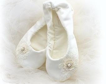 Ivory Wedding Ballet Flats Satin Ballet Shoes Ballet Slippers Bridal Flats Shoes Shoes for Brides Custom Wedding Shoes