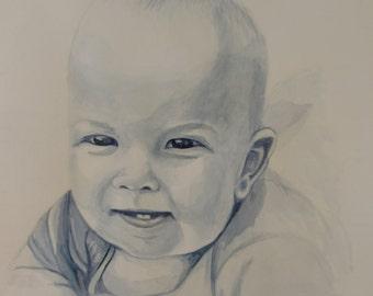 Custom watercolor children's portrait