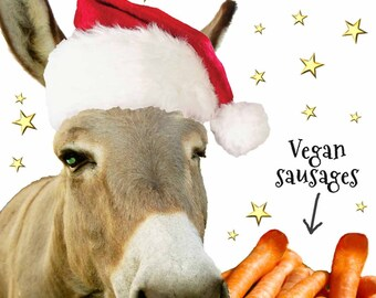 Seasonal Veggies - Vegan sausages - Vegan Christmas Card - free UK postage