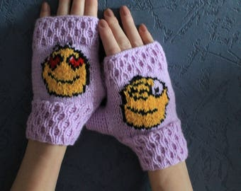 Knitted Wrist warmers Crochet Bike Driving Frilly gloves Knit Fingerless gloves Short Emoji Fancy gloves Cable Purple Blue gloves for all