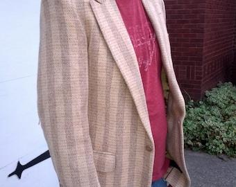 Vintage 70s Stripe Wool  Mens Sportcoat Blazer Size Medium