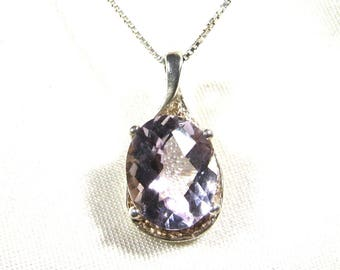 Amethyst pendant necklace. Brilliant, pale lilac faceted gem: Brazilian amethyst in .925 solid sterling silver on .925 sterling silver chain