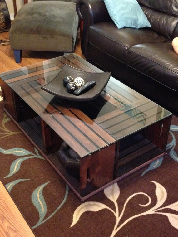 Wood crate coffee table for How to make a wooden crate coffee table