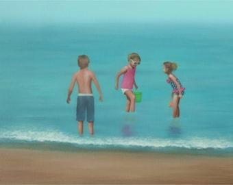 Children Playing At The Beach, Original Figurative Beach Painting