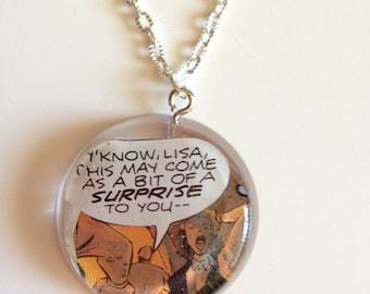 Y'know Lisa Comic Book Necklace- Comic Book Scrap in Resin Pendant