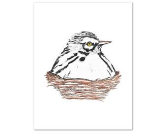 White Bird Watercolor Art Print, Whimsical Bird and Nest Art, Modern Rustic Decor, Farmhouse Wall Art, Cottage Chic Nature Decor