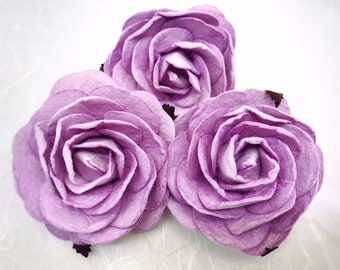 3 pcs. 2.5 inches large sweet lilac mulberry roses - paper flowers #188