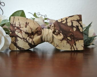 Brown Tan Camo Bow Tie for Men , Cotton Bowtie , Pretied Clip-On , Fathers Day Gift