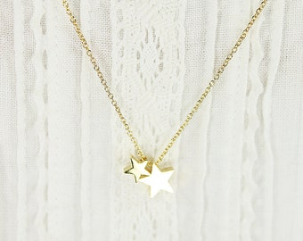 Tiny Two Gold Star Charm Necklace . Bridesmaid Necklace Bridesmaid Gift Dainty and Modern Necklace