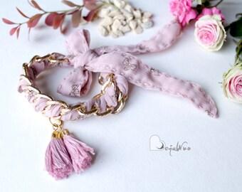 Pink bracelet Fabric bracelet Woven Chain Bracelet Friendship Bracelet Tassel bracelet Fabric jewelry Textile bracelet Gift for her