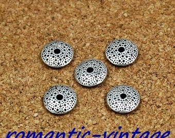 10 beautiful old 10 * 3mm silver rondelles
