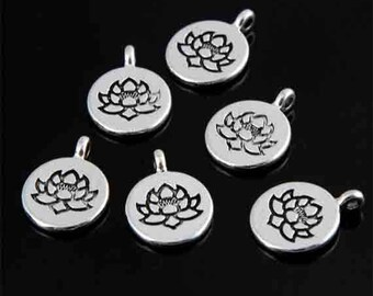 Flower charm with lotus, meditation, silver, 15 mm sold per 2