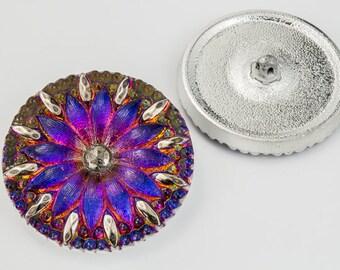 31mm Iridescent Volcano Radiant Flower Button #BUT025