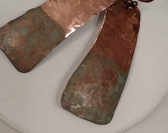 Copper Designed Earrings, Copper Earrings, Dangle Pierced, Copper ear Wires, Patina Finished Ends, Recycled Copper Earrings