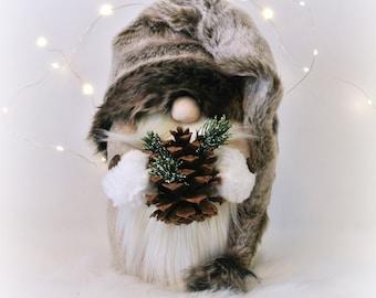 Brown Fur Woodland Nordic Gnome, Tomte, Nisse, Gnome, Scandinavian Gnome, Hemlock