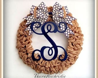 Everyday Wreath-Burlap Wreath-Front Door Wreath-Front Door Burlap Wreath-Spring Wreath-Monogram Wreath-Initial Wreath-Wreath for Front Door