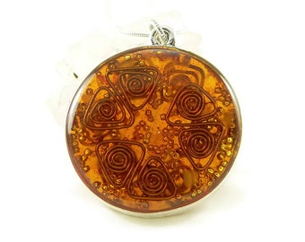 Orgone Energy Pendant - Double Sided Open Pendant in Silver with Orange Carnelian - Quartz Crystal - Energy Jewelry - Artisan Jewelry