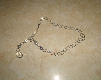 vintage necklace silvertone chain glass rhinestones