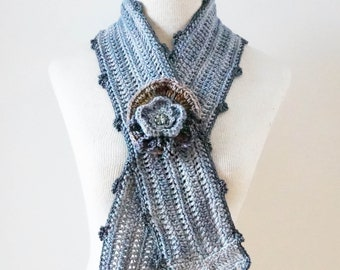 Gray Scarf with Rose Window Scarf brooch, Architectural Scarf, Wild Rose on the Stained Glass Rose Window from Gothic Architecture, scarf