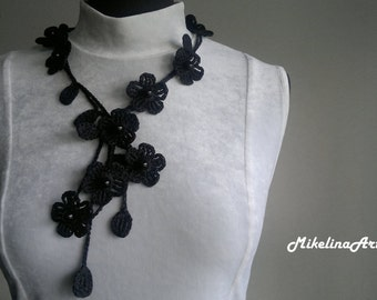 Crochet Necklace,Crochet Neck Accessory, Flower Necklace, Black, 100% Cotton.