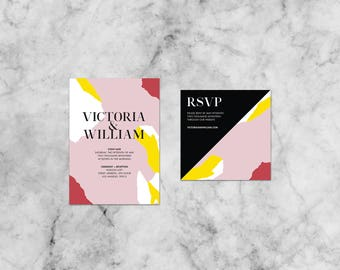 Victoria Abstract Suite   Customized Wedding Invitation Template Set